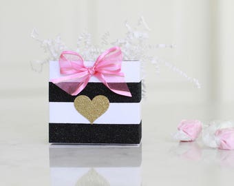 Kate Spade style baby shower, treat bags, hot pink and black,  12 mini favor boxes,  favor bag, Paris party, bridal shower treat bags