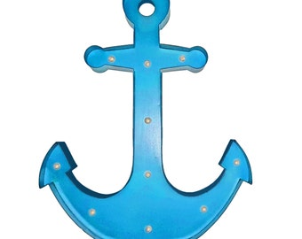 "ON SALE! Large Battery Operated 24"" Metal Marquee Nautical Beach Ship Ocean Anchor Light Sign - 21 Color Options!"