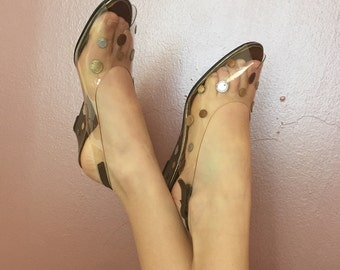 Magdesians 7.5 1960s Clear Vinyl Slingback Sandals/60s wedge heels