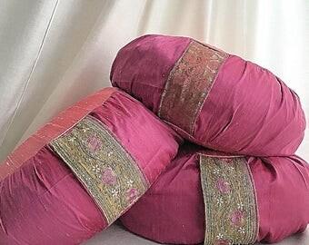 Meditation Cushion // Zafu Cushion // silk meditation cushion // pink meditation cushion // purple meditation cushion