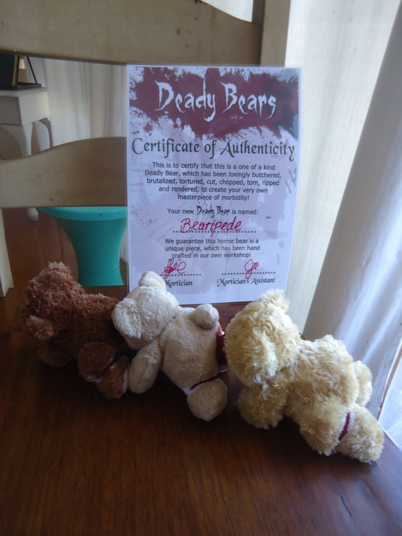 etsy human centipede teddy bear replica bearipede ooak horror with coa