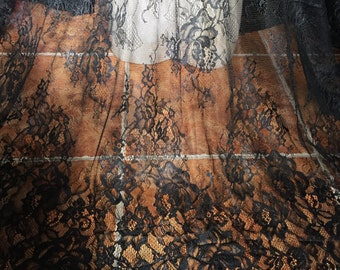 1 Yard Graceful Black Eyelash Lace Fabric 59 Inches Wide Floral Scalloped Dress Veil Costume