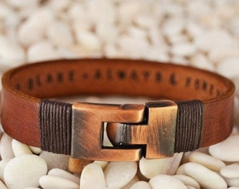 EXPRESS SHIPPING Personalized leather jewelry for him Mens leather bracelet Gifts for men Personalized Men Bracelet Valentine Gift for him