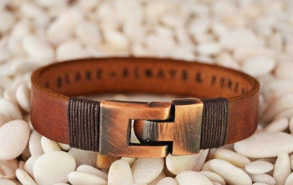 EXPRESS SHIPPING Personalized leather jewelry for him Mens