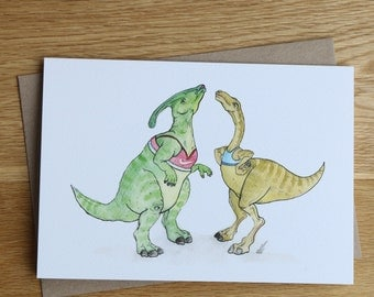 Dinosaurs in Croptops. Hand drawn card for dinosaur lovers.
