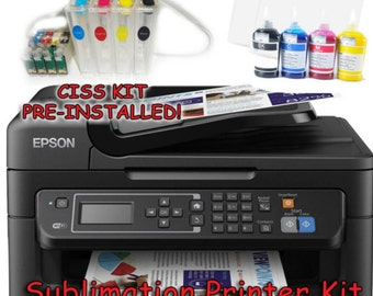 Epson WF-2630 Sublimation Printer Bundle with CISS Kit, Sublimation Ink & Paper