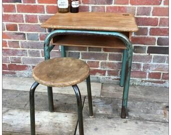 Industrial Vintage French Wooden School Desk