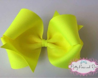 Neon Yellow Hair Bow, Large Neon Yellow Bow, Extra Large Bow, Large Boutique Bow, Neon Yellow Boutique Bow