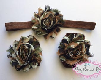 Camo Headband and Barefoot Sandal Set, Camoflouge Headband and Barefoot Sandals, Baby Barefoot Sandals, Camo Flower Headband