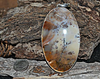 Dendrite Silver Pendant - Natural Dendrite Pendant - Dendrite Stone Pendant - Dendrite Pendant, Silver Pendant, 925 Sterling Silver