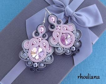 Rivoli Rose &  Shades Grey Soutache Earrings