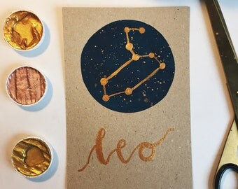 Leo Horoscope Constellation Star Sign Print - Gold Details with Watercolour Background (a3, a4, a5, a6)