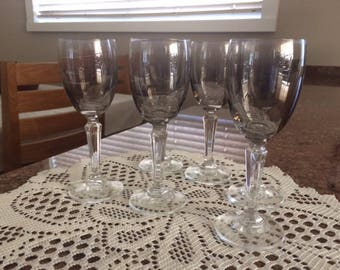 Vintage Smoke Grey Cordial Crystal Glasses stemware - 1960's
