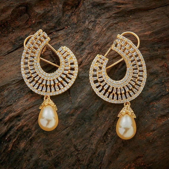 High Quality Cubic Zirconia studs Earrings with pearl droplet   Indian Jewelry   Indian Earrings   South Indian Jewelry   Gold Plated