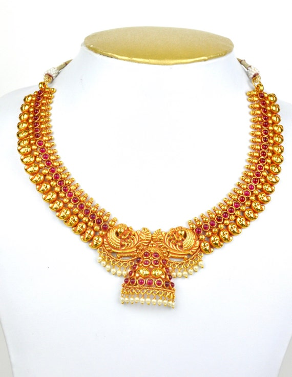 Antique gheru polish mango design kemp necklace  with jhumkis  | Indian Jewellery | Indian Necklace | Temple Jewelry