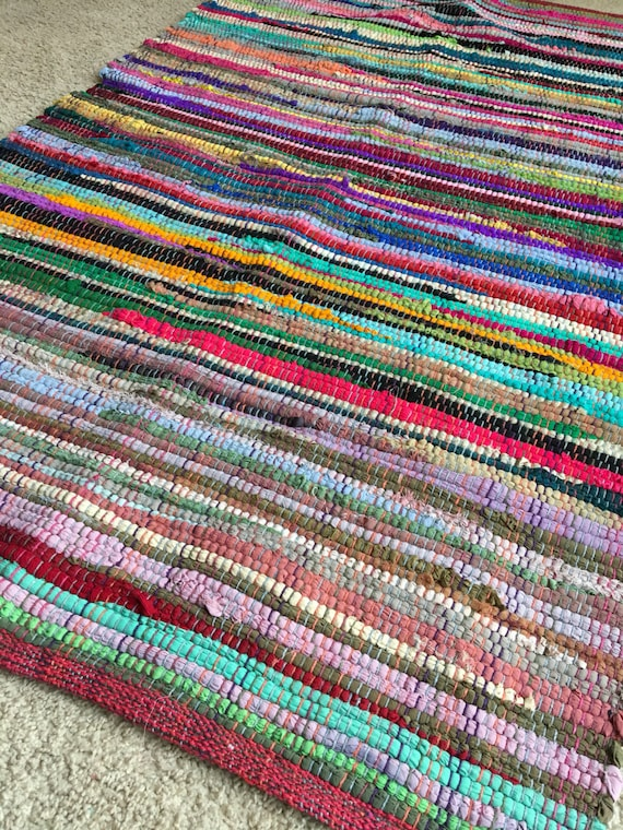 Rag Rug Bright Cotton Rag Rug Bathroom By Yourgreateststory