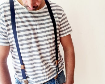 Suspenders, Navy Blue Leather Suspender,  Men's Suspenders, Brown Leather Suspenders, Wedding asseccoires,  Antique Style, Gift for him