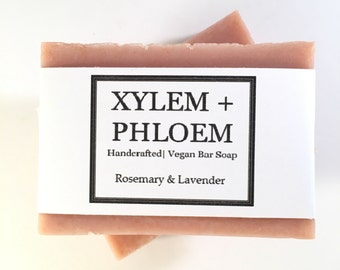 Rosemary, Lavender, Dark Red Brazilian Clay Bar Soap, Artisanal Soap, Vegan Soap, Handmade, Cold Process Soap, Bath and Beauty
