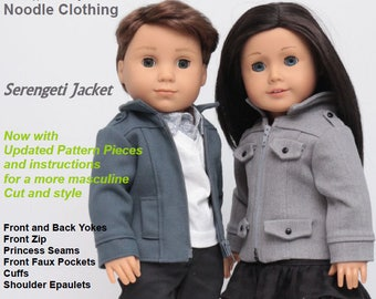 18 inch Doll Clothes PDF Pattern - Serengeti Jacket fits Girl and Boy dolls such as American Girl®