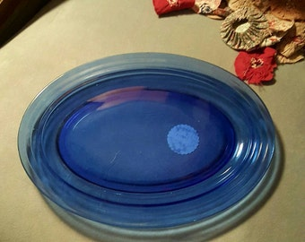 Blue Glass Platter~Kitchen Serving
