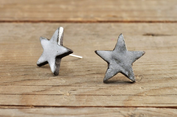 SMALL matte white star stoneware stud earrings