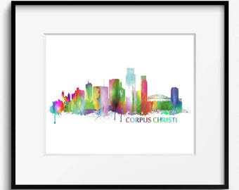 Corpus Christi Skyline, Watercolor Art Print (015) Corpus Christi Cityscape, Texas Art Print, Corpus Christi Art Print, USA Art Print,