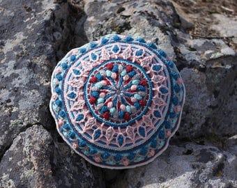 Crochet Round Mandala Decorative Pillow or Meditation Cushion