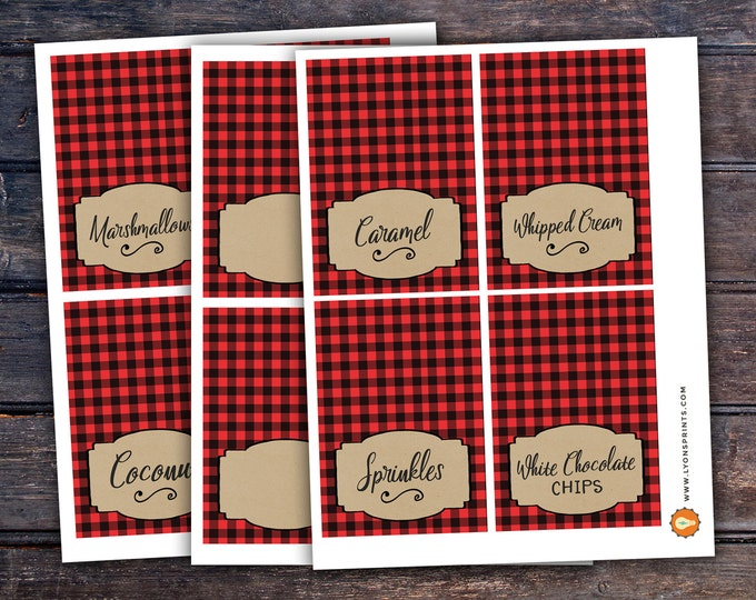 Hot chocolate bar, Lumberjack party, Woodland baby shower.Kraft, couple baby shower, hot cocoa, flannel, food tents, sign