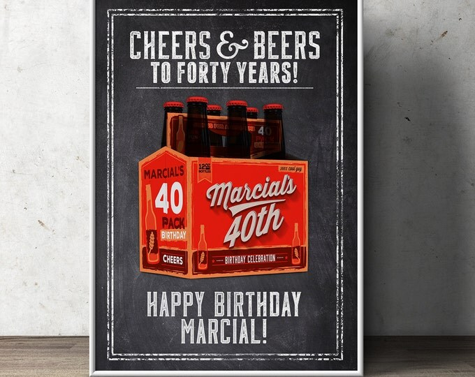 Cheers and Beers, poster, beer tasting, 21st, 30th, 40th, 50th, 60th, Surprise Birthday Party, adult birthday, invite, party sign