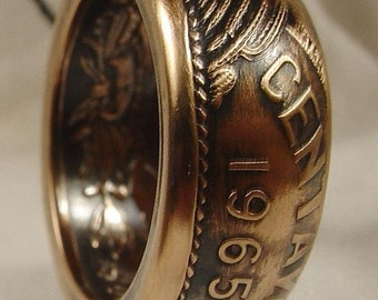 Custom Handmade Ring from A Mexican 20 Cintavos Antiqued Sizes 6 - 13