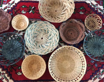 Vintage Wicker Rattan Basket Set Collection Wall Hanging Set of 10 Bohemian Decor