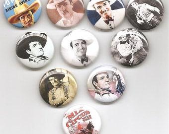 Tom Mix Cowboy Nostalgic Set of 10 Pins Button Badge Pinback