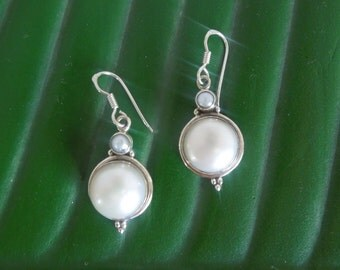 SALE NOW ON..Sterling silver and South sea Pearls vintage look Earrings