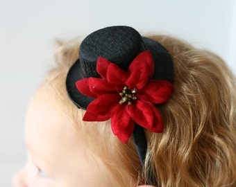Mini Top Hat Headband - Mini Top Hat Baby - Baby Top Hat - Girls Holiday Headband - Christmas Photo Prop for Girls - Adult Top Hat Headband