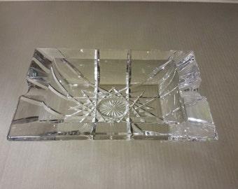 Vintage mid century Lead Crystal Cigar Ashtray heavy clear glass starburst pattern