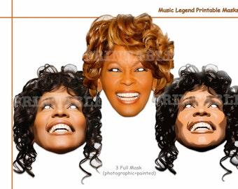 Unique Whitney Music Legend Printable Masks, costumes, musician, pop Star masks, party decoration, photo booth props, celebrity, singer mask