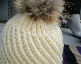 New!Modern Cap in 2 colors with Real Fox pompom on the top!