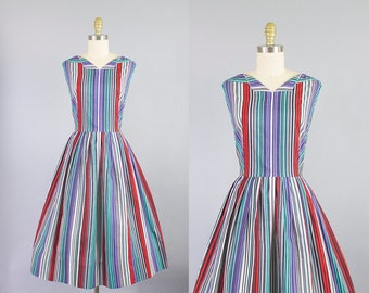 1950s striped cotton dress/ 50s McKetterick day dress/ medium