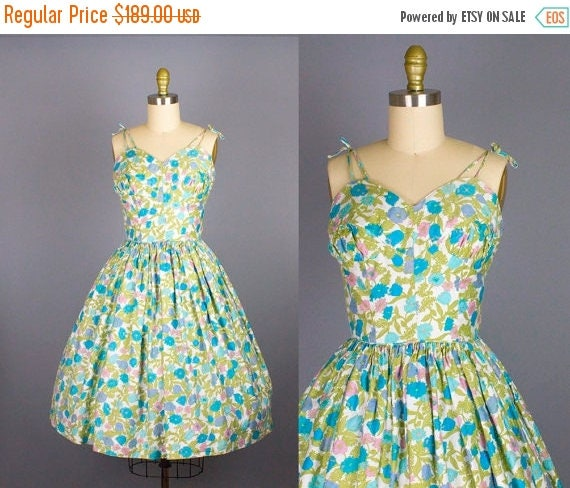 SALE 15% STOREWIDE 1950s floral sundress/ 50s cotton spaghetti strap dress/ candy jones/ small