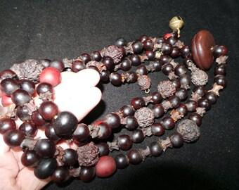 Old Nepal Shaman Black Snake Eye Rudraksha & Snake Bone Bead Necklace