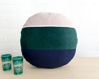 round pillow cushion cover in blush pink dark green and navy with merino wool felt