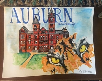 Auburn University Tigers Watercolor Painting Reprint