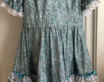 Double Ruffled Square Dance Dress/Turquoise/Teal