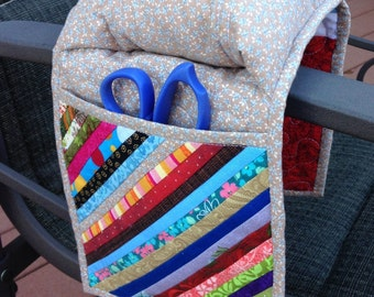 Handmade armchair quilted pincushion with pockets