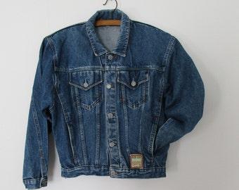 Boys denim jacket, vintage retro 80s, batwing long sleeve, jean coat jacket, 12 13 14 years