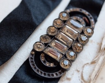 Antique Art Deco crystal belt buckle on black silk belt, jewellery supplies, costume design, couture, vintage bride bridal sash, bouquet