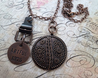 """Sale! Woodland, Inspirational Necklace:Copper Metal, Floral Embossed, 1.75"""" Disk, Tim Holtz Buckle&""""ARTFUL 1375"""" Philosophy Tag on 35"""" Chain"""