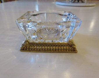 CRYSTAL ASHTRAY with Gold Base