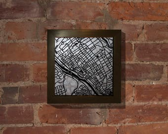 Manayunk Map Etched into Antique Mirror