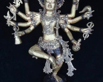 Shiva Nataraja God Brass bronze Mix Statue Creator Lotus Flower Meditation Yoga Art Hindu Collectable